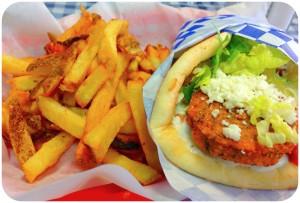 falafel gyro with side of fries, nom nom nom nom nom.