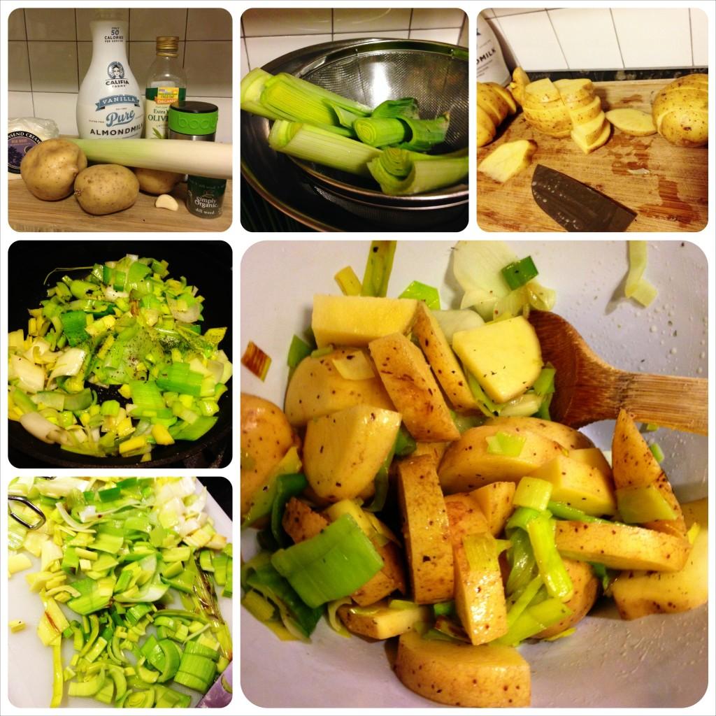 Leek & potato gratin: steps.