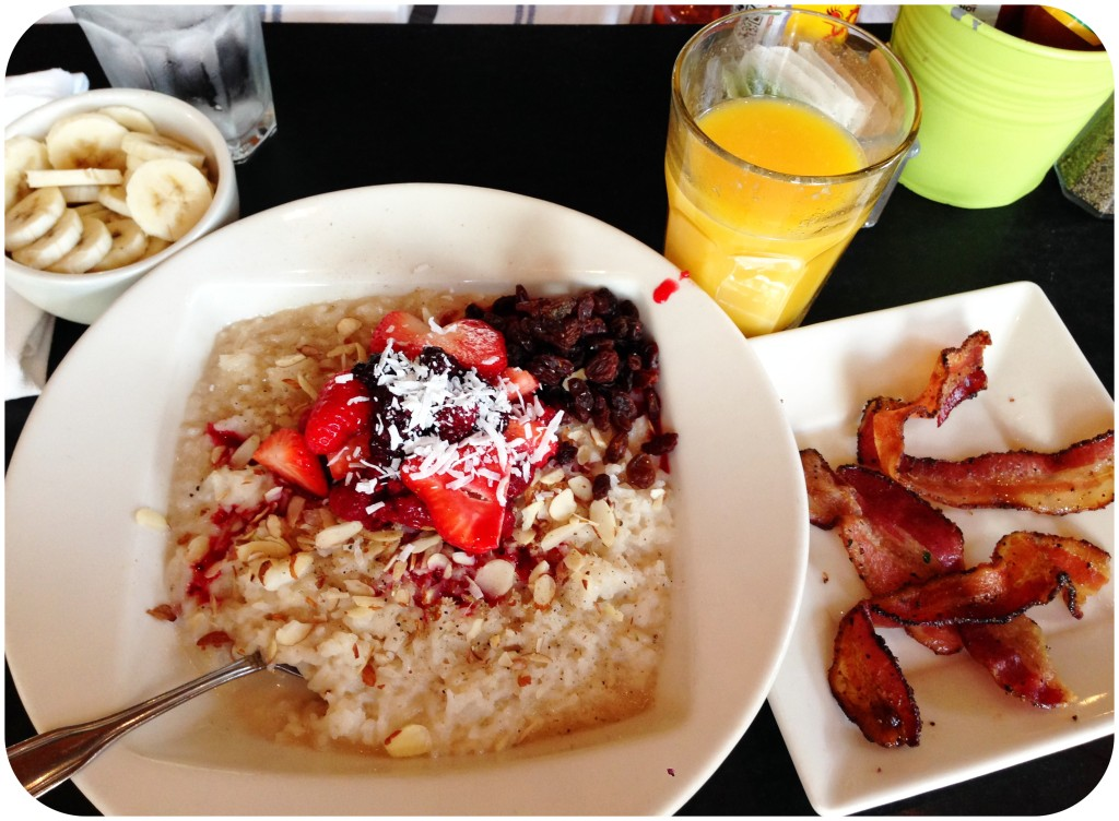 Brunch at South Lake Union Portage Bay the Wong Way: sweetened rice porridge, orange juice, two orders of bacon not shown.