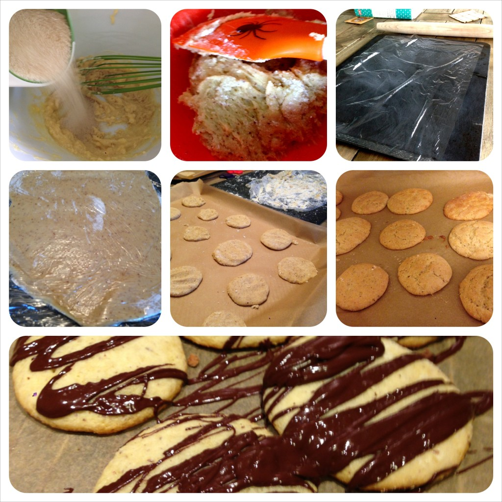 sugar cookies: if gluten-free, roll between saran wrap, and add flour for less stickiness.