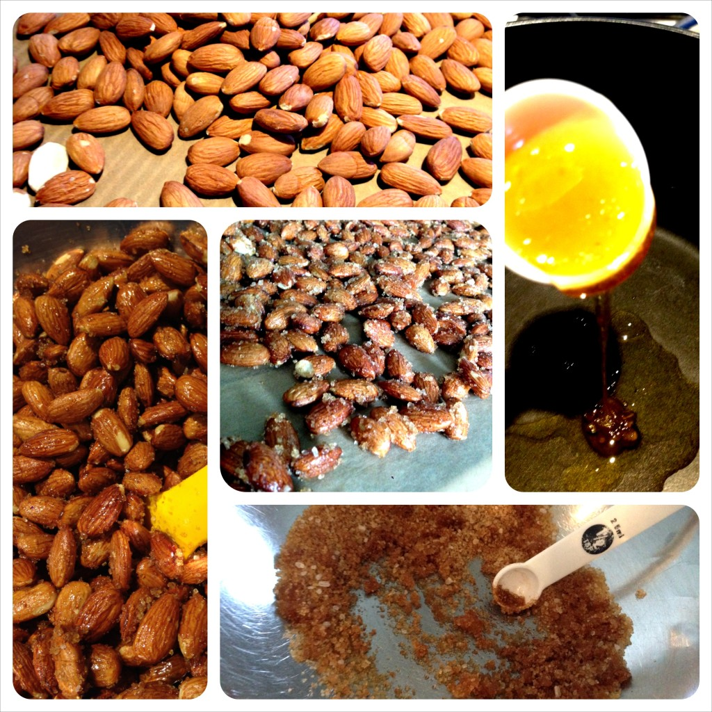 sweet & spicy almonds: roast, melt the slurry, coat, add dry mix, cool. easy!