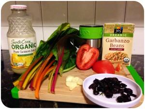 rainbow chard, roma tomatoes, dried cranberries, sliced garlic, chickpeas, lemon juice and salt.