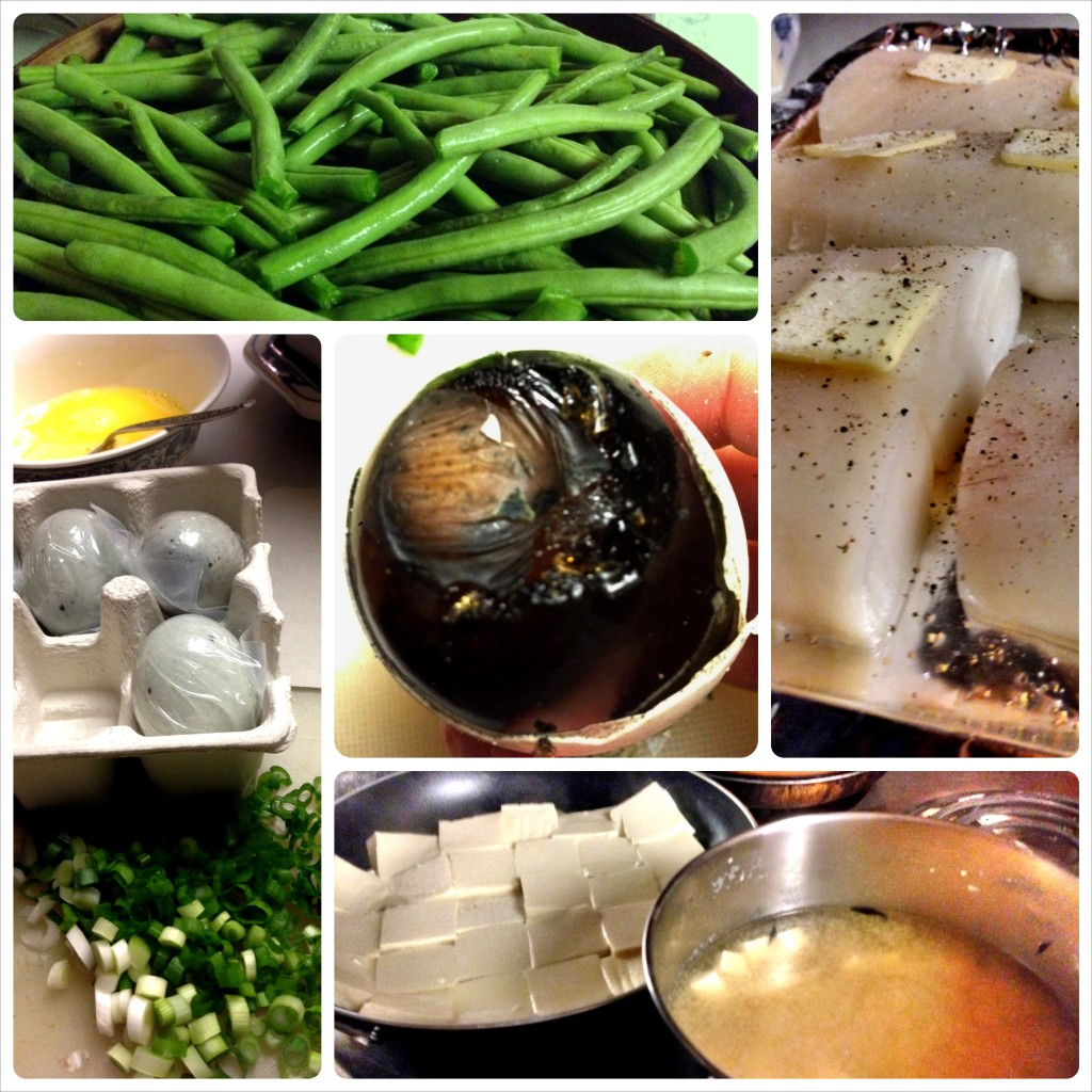 Dinner prep with Mama: green beans, fish, thousand year eggs, scallions, and tofu.