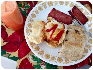 Fried egg on pan de sol (filipino bread roll), turkey bacon, homemade raisin bread, and fresh-blended juice (+ketchup), compliments of my Mom and Dad - in-law. Nom nom nom.