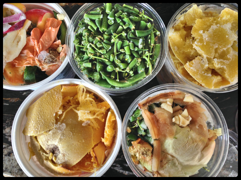 6 re-used yogurt containers of veggie scraps in the freezer? Time for stock Sunday!