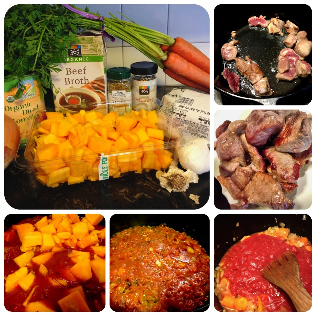 Ingredients marshalled: sear meat, set aside, saute other stuff, pour on tomatoes and herbs, simmer 2 hours, add butternut squash.