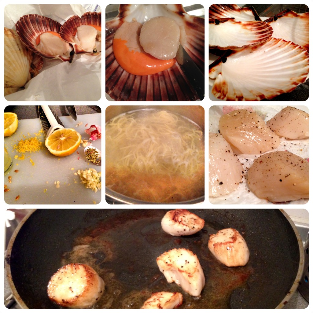 scallops on the half shell!! lemon and pasta ingredients, scallops patted dry and prepped with salt and pepper for the pan, and finally: scallops in the pan full of butter and olive oil.