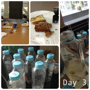 Day 3: drank the green drink in a few minutes and watched my co-workers eat those fries (top left) for about an hour. It was good to socialize, though. Snacks were saved to Saturday too.