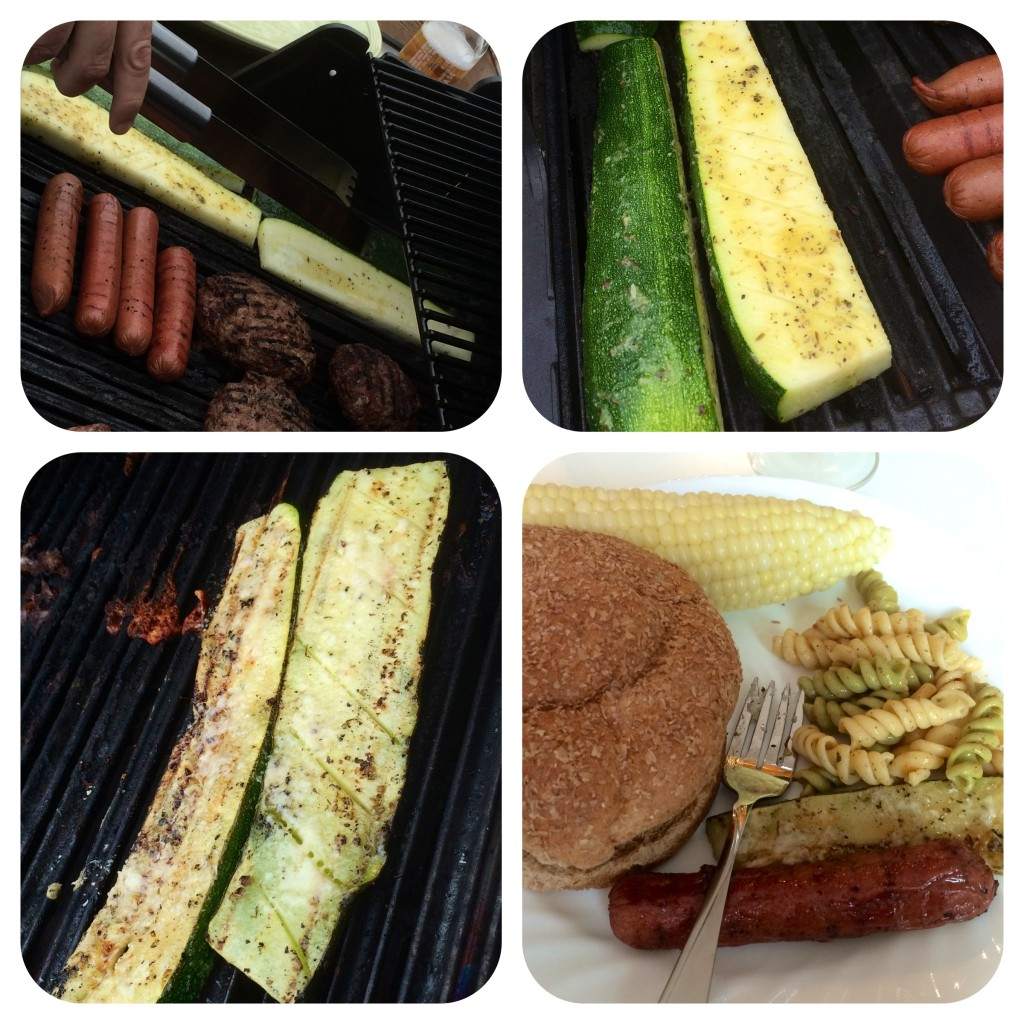 Zucchini on the grill: at least when it's gigantic, it's less likely to fall through the grill bars..