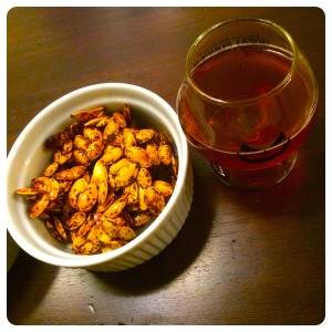 BBQ roasted pumpkin seeds + rogue farms pumpkin patch ale