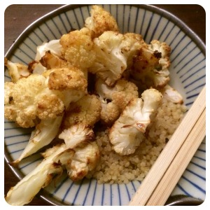 roasted butter with a little cauliflower, atop quinoa.
