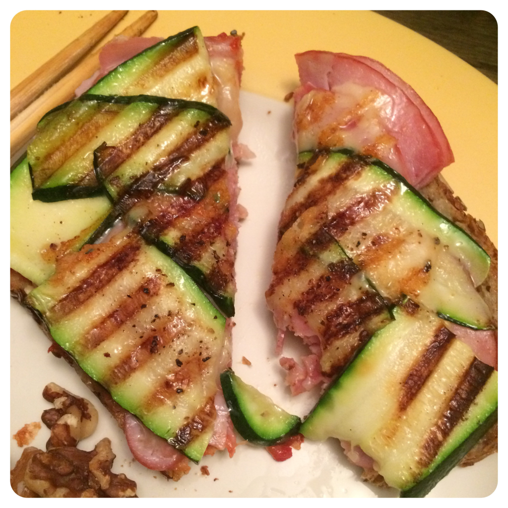 open-faced zucchini panini sandwich
