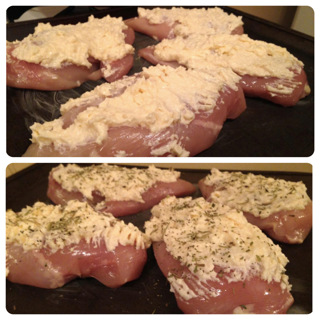 "Top: raw chicken with ""white sauce."" Bottom: chicken with sauce and herbs-pretend-breadcrumbs."