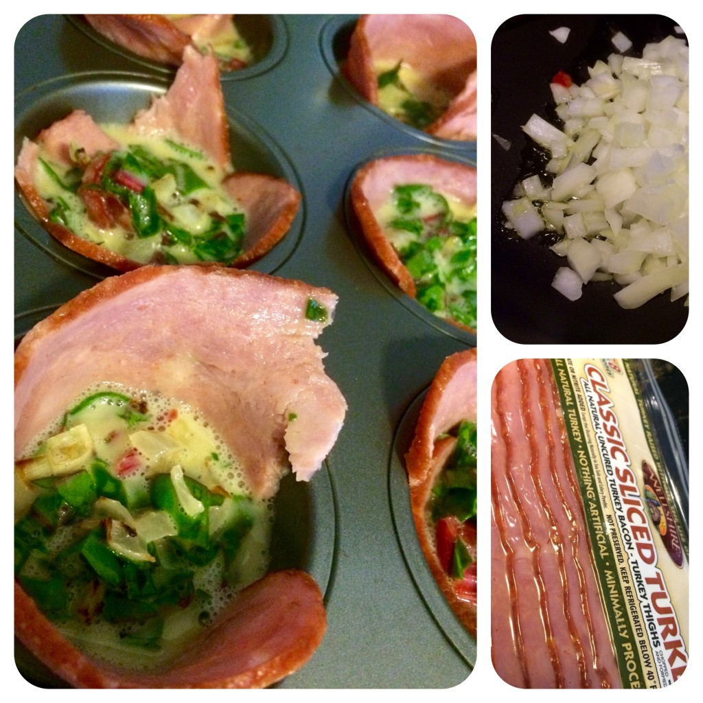 Left: cups are prepped and ready for baking. Top right: sauteed onions. Bottom right: turkey bacon...still bacon.