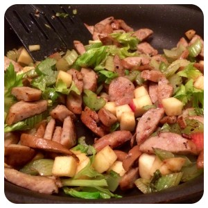 Combo #2: celery, chicken sage sausage, and apple.