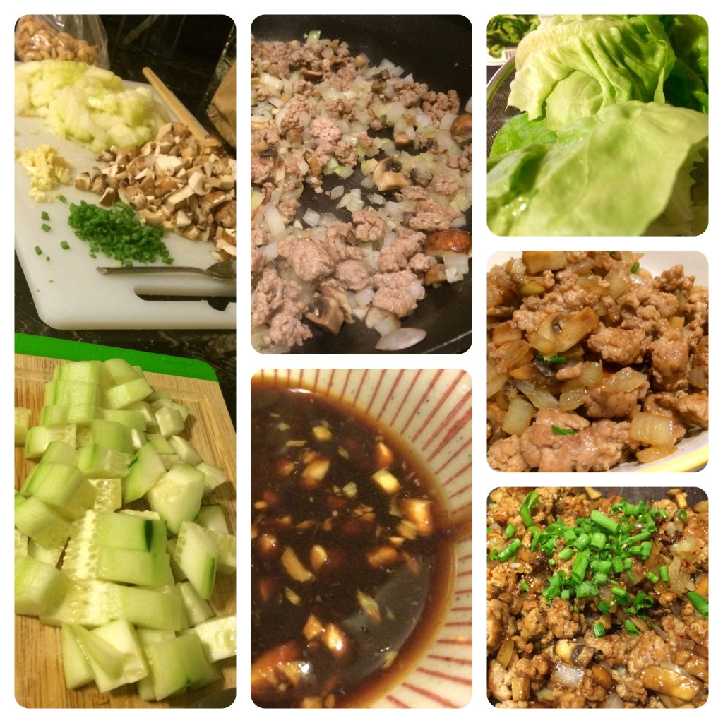 Lettuce wrap montage! This one is from an earlier trial, before I decided I didn't like cucumbers and instead wanted oranges in it.