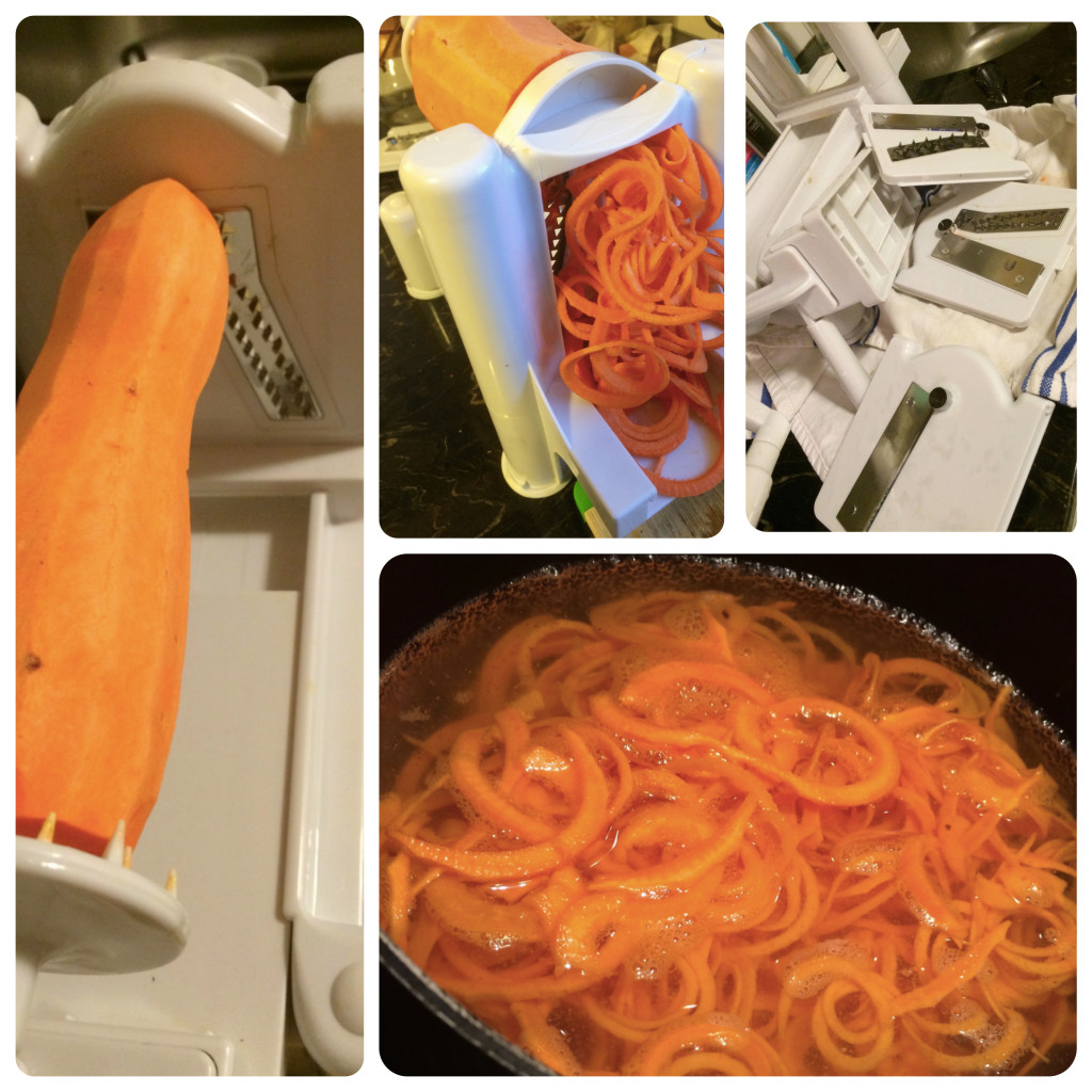 Peel, spiralize, clean spiralizer, boil.
