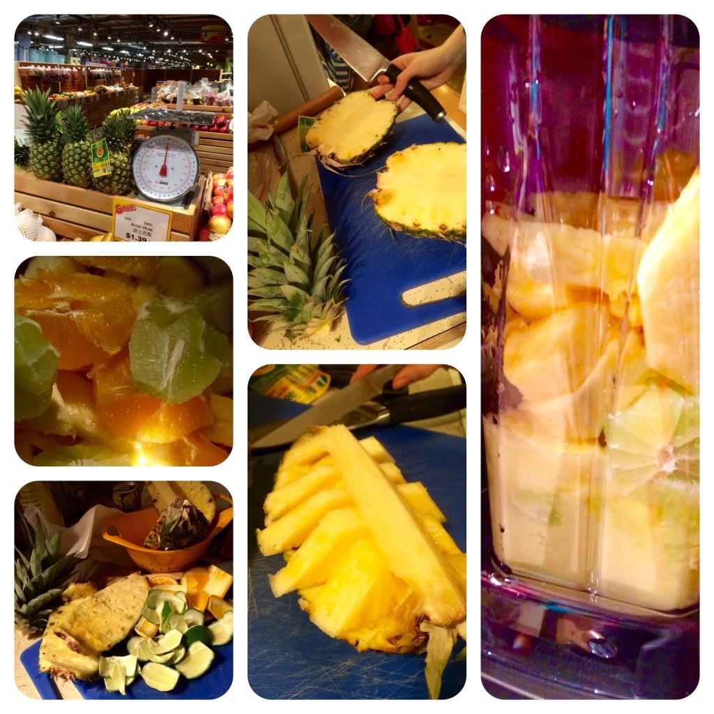 Asian Food Center Pineapple Heaven, chop, chop chop, slice, juice, blend.