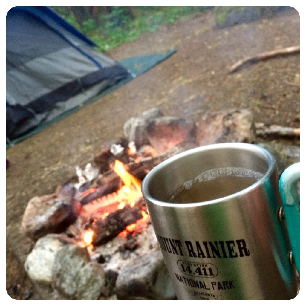 Relaxing with a hot toddy after dinner before getting in that tent.