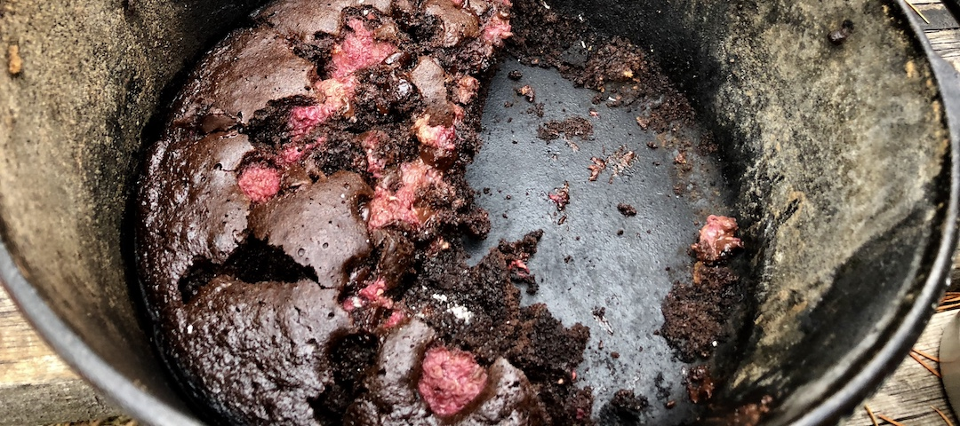 Dutch oven raspberry chocolate cake cooked in a campfire by Food the Wong Way