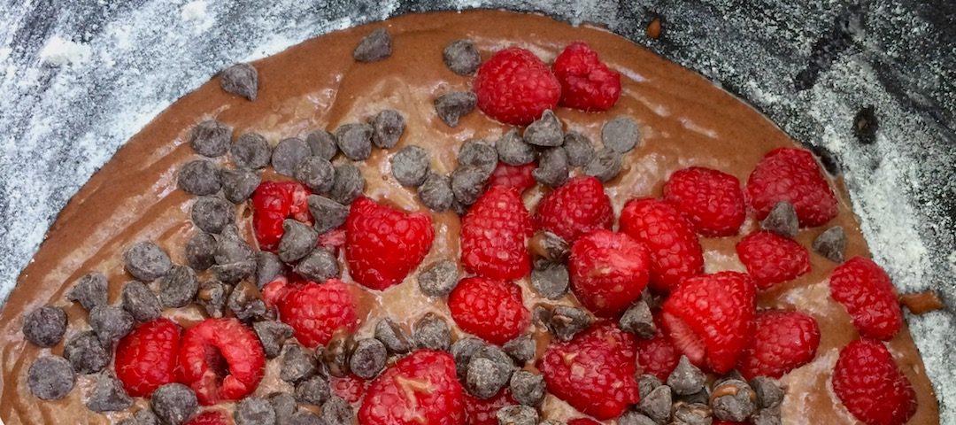 Raspberry Chocolate Camp Cake - using a dutch oven