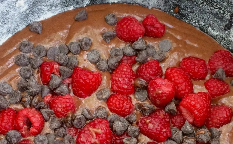 Raspberry Chocolate Camp Cake - using a dutch oven