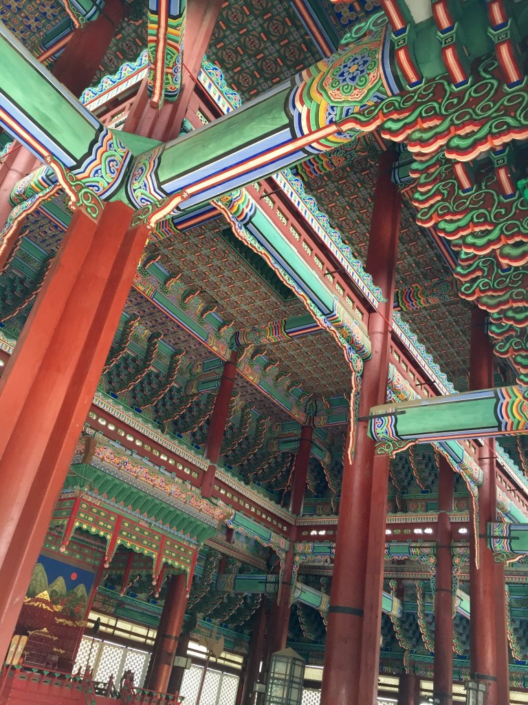 At Geongbokgung Palace: throne room ceiling.