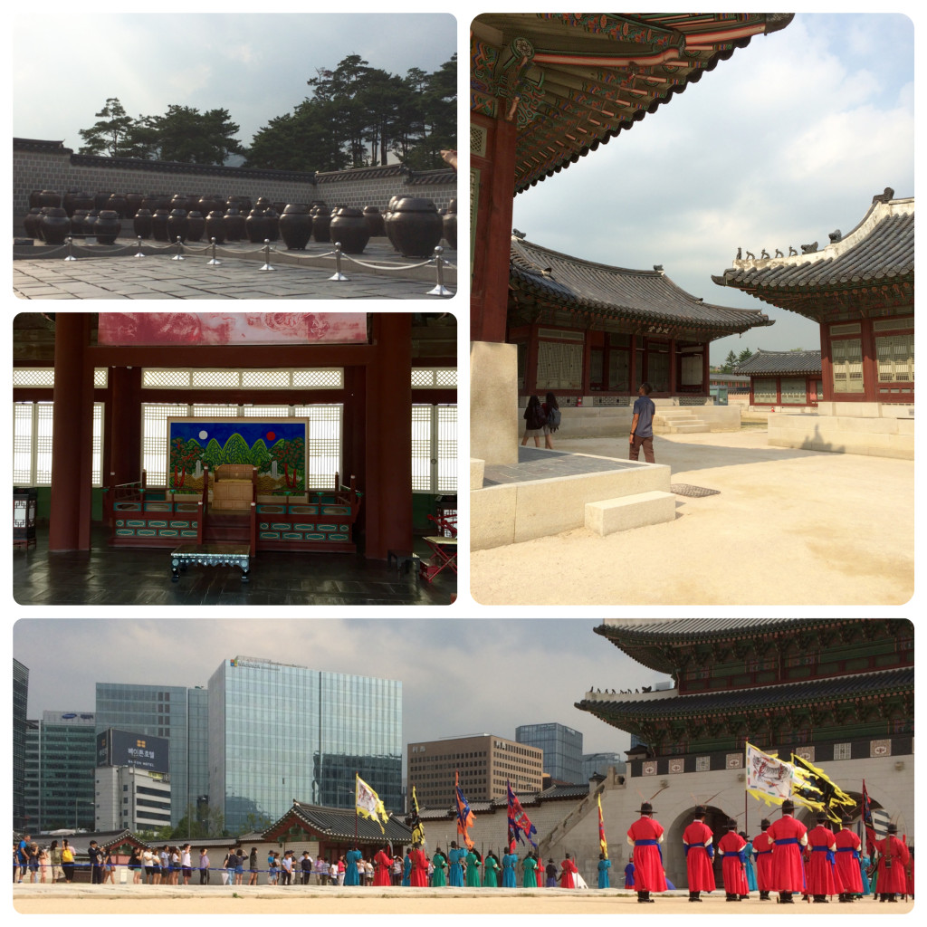 At Geongbokgung Palace: top left: food storage and fermenting area, right: palace grounds, bottom: entrance courtyard, middle left: royal throne!