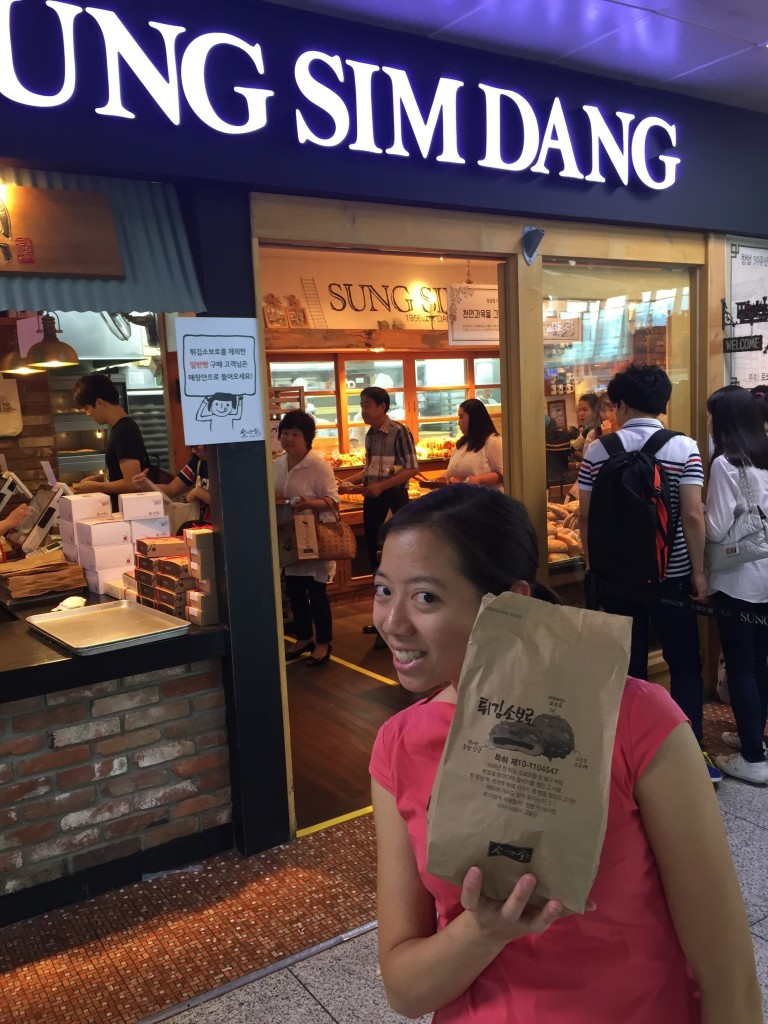 There was a long line for Sung Sim Dang pastries at the Daejeon train station, so I stood in it, and bought some red bean hambao. It was okay.