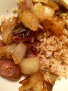 Final product atop garlic rice!