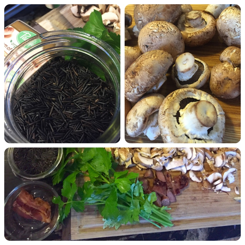 Top left: wild rice, ooooh! Top right: fresh mushrooms, boom. Bottom: celery, bits of bacon, chopped mushrooms.