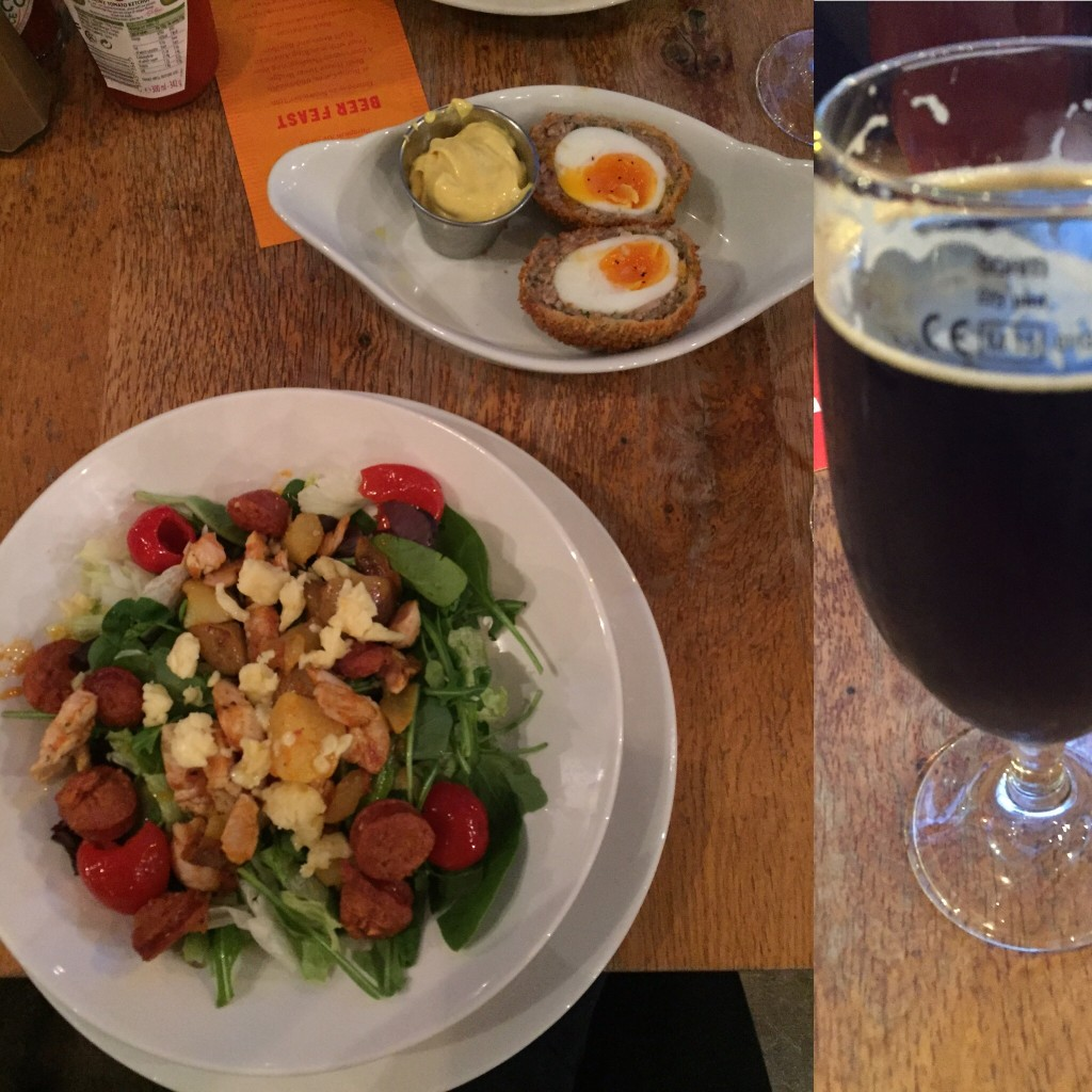 @Draft House Tower Bridge: delicious scotch eggs, a decent stout, and my kind of salad: with hot potatoes and fried chorizo on top! It really hit the spot after skipping through lunch to make it to the Tower of London before they closed.