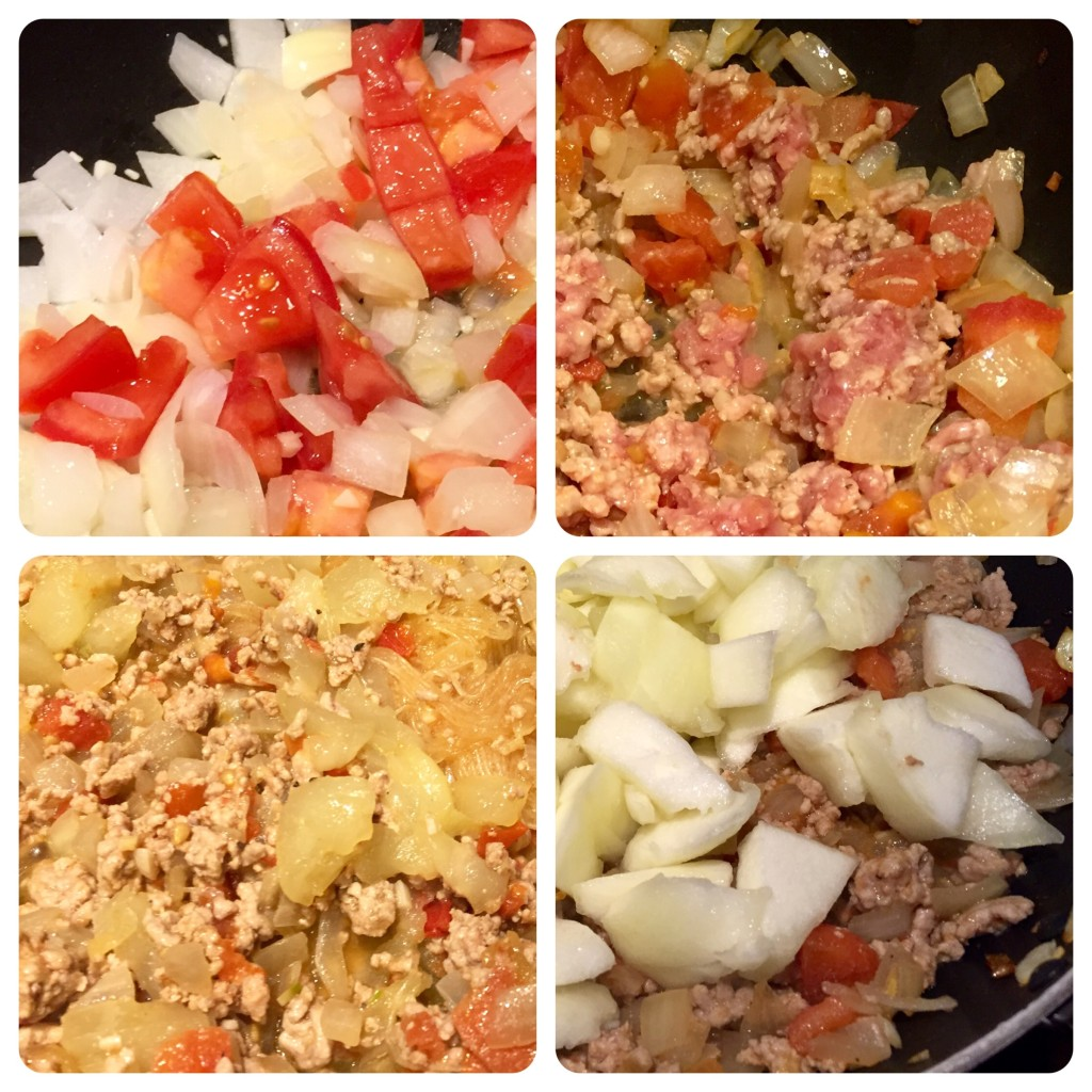 Clockwise from top left: saute tomatoes and onions, add pork, add upo, add noodles.