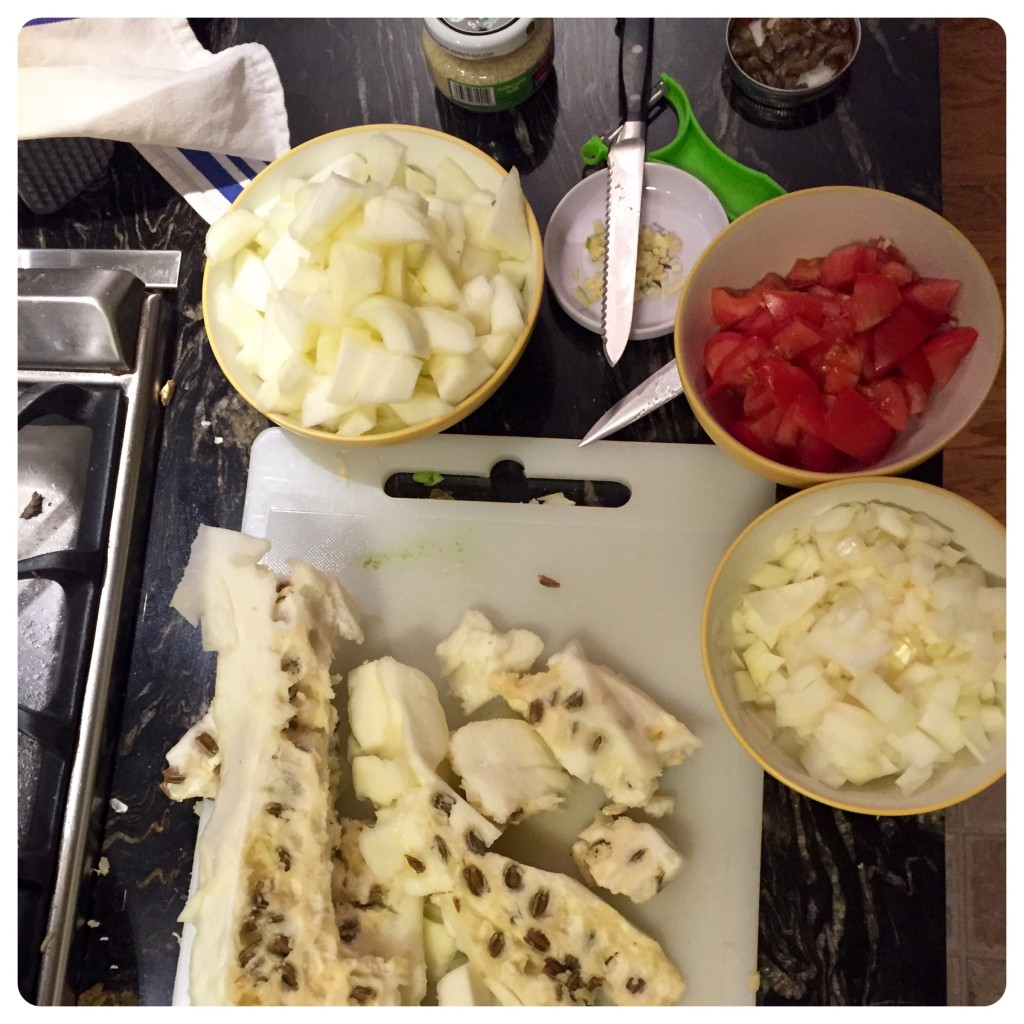 Ingredients prep: the most time-consuming part of the recipe, in the case of our very-extra-grown squash.