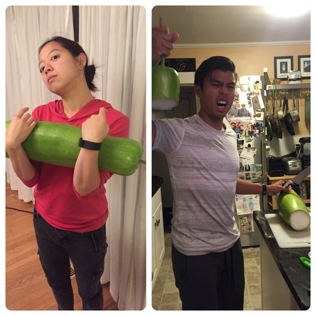 Left: bottle squash/upo - good for weight-lifting exercise! Right: after much struggle, victory over said squash.