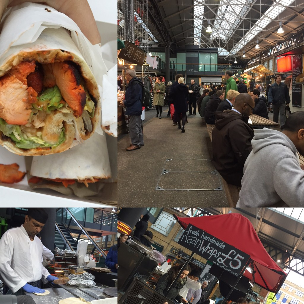 Spitalfield Market: chicken tikka wrap with fresh-baked naan.