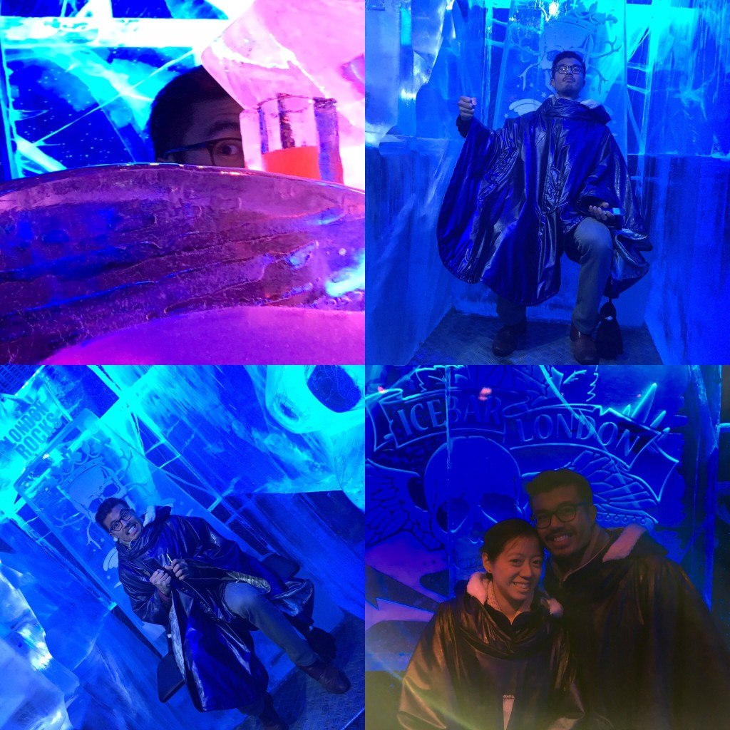 We also went to an ice bar, where everything was made of ice, and you get loaned a coat with gloves attached. It was a touristy as you could possibly make it. Clearly, K made the best of it in these photos.