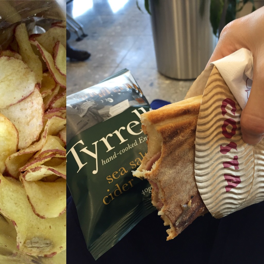 Airport food from Costa: apple vinegar chips are DELICIOUS. Costa employees like to ignore me when I get to the front of the line. Super weird and disappointing.