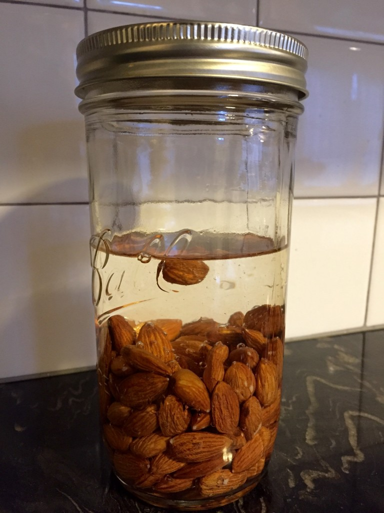 Almonds, just startin' to chill in water for 26ish hours.