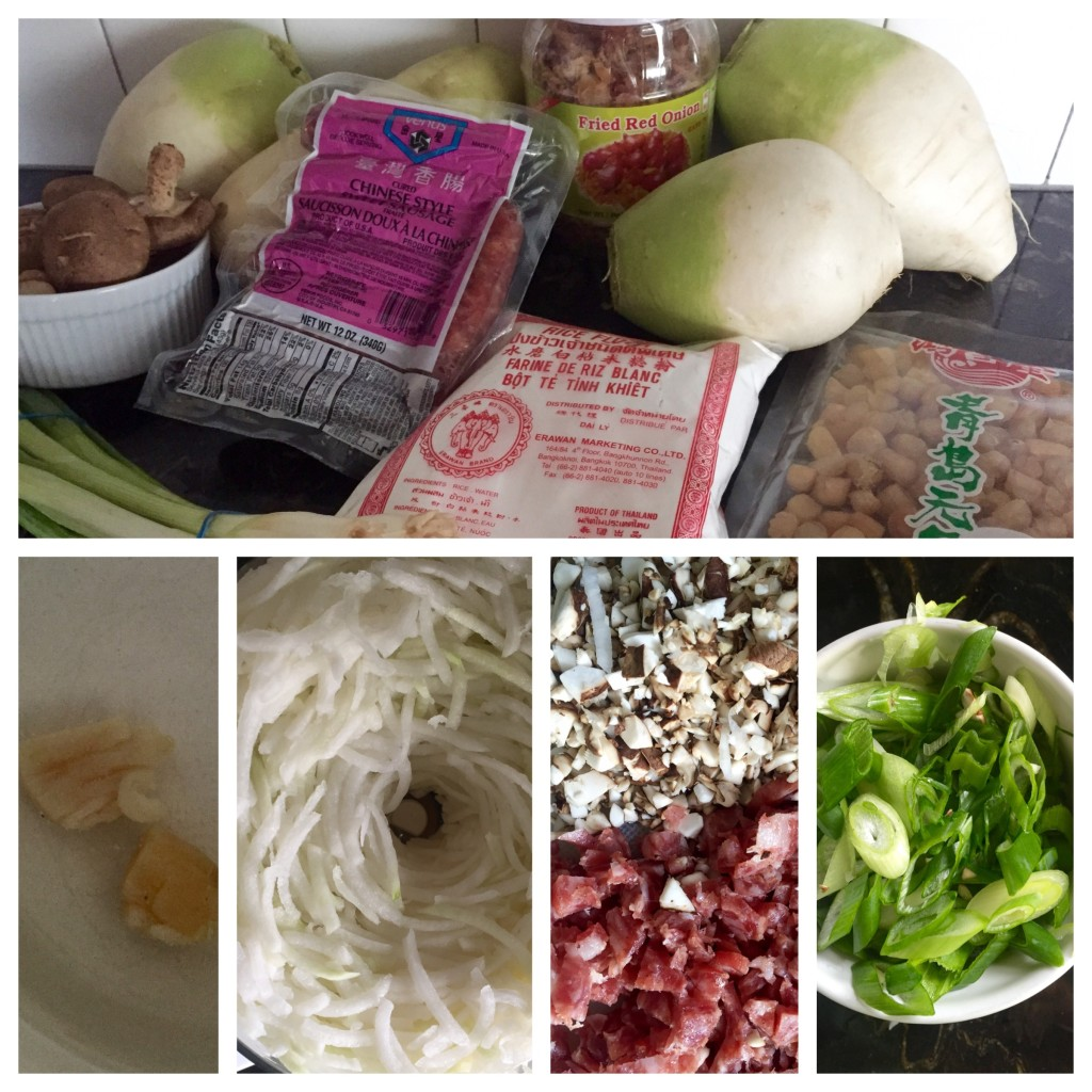 So many packages of processed food, to be more processed! Bottom, left to right: dried scallops soaking, Cuisinart-shredded radish, chopped shiitakes and sausage, and diced green onions.