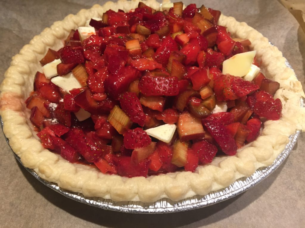 Strawberry Rhubarb Pie: the before picture, because I didn't snap one of after that didn't already have a piece cut out.
