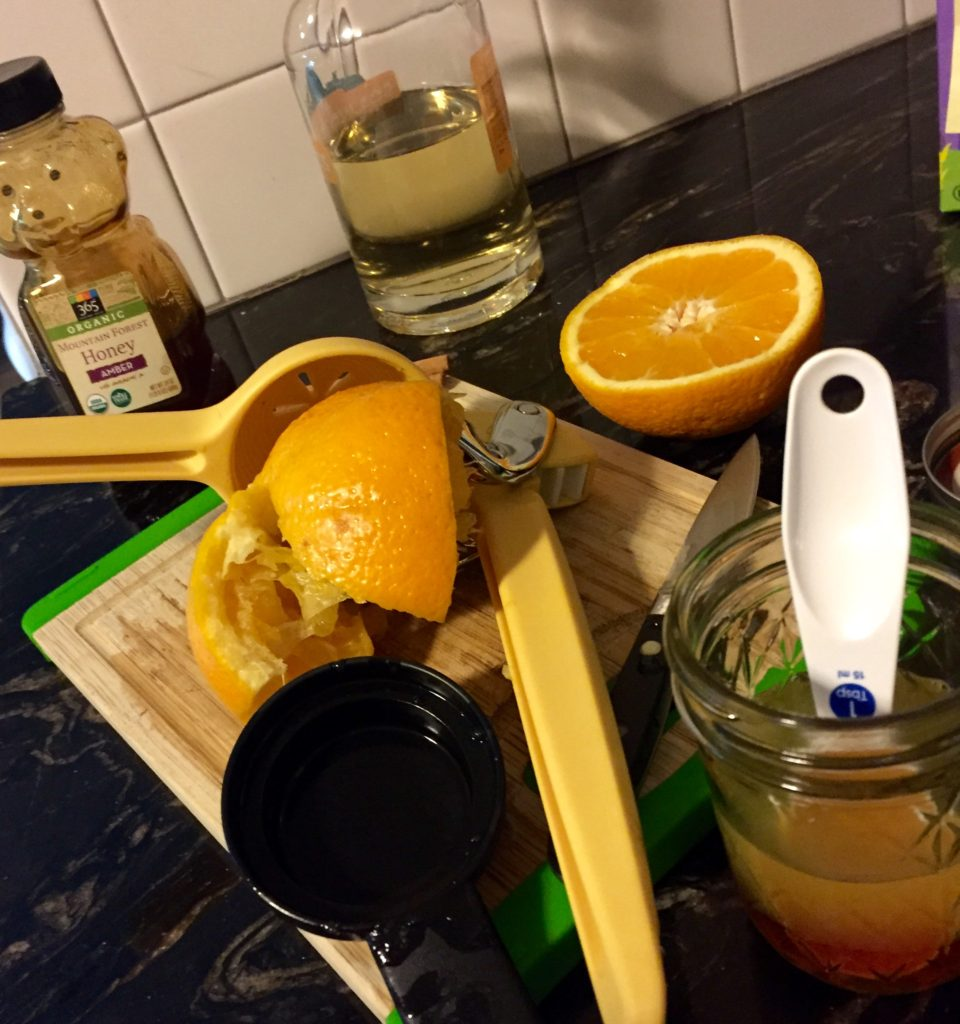 Orange juiced, honey, gin and juice mixed.