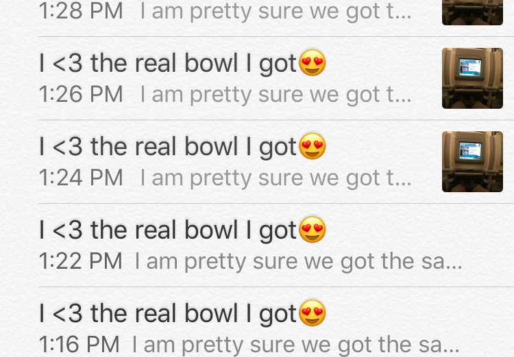 Last Saturday's overseas flight messaging shenanigans. Airplane food tastes better out of a real bowl for me.