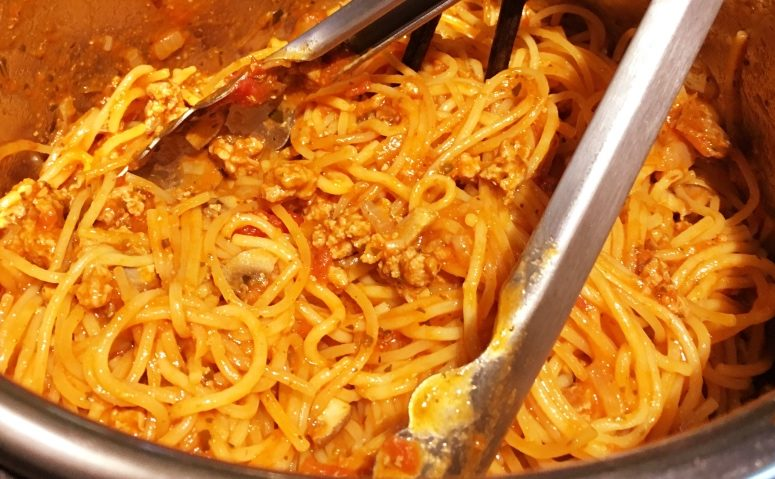 Spaghetti and meat made via Instant Pot by Tanya