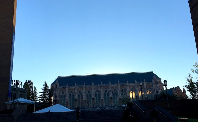 This scenic photo taken on the UW campus near Red Square in the early dawn hours.