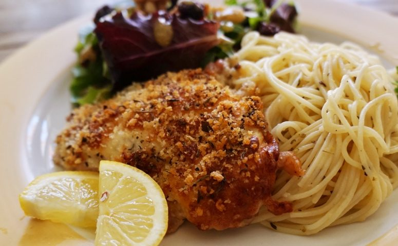 Panko-Crusted Chicken with Zesty Lemon-Garlic Pasta, Salad
