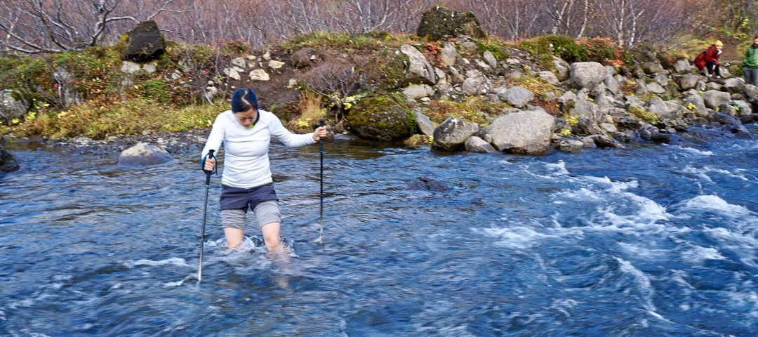 River crossing near Glymur, Iceland