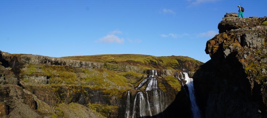 Climber Kris surveying the land near Glymur Falls