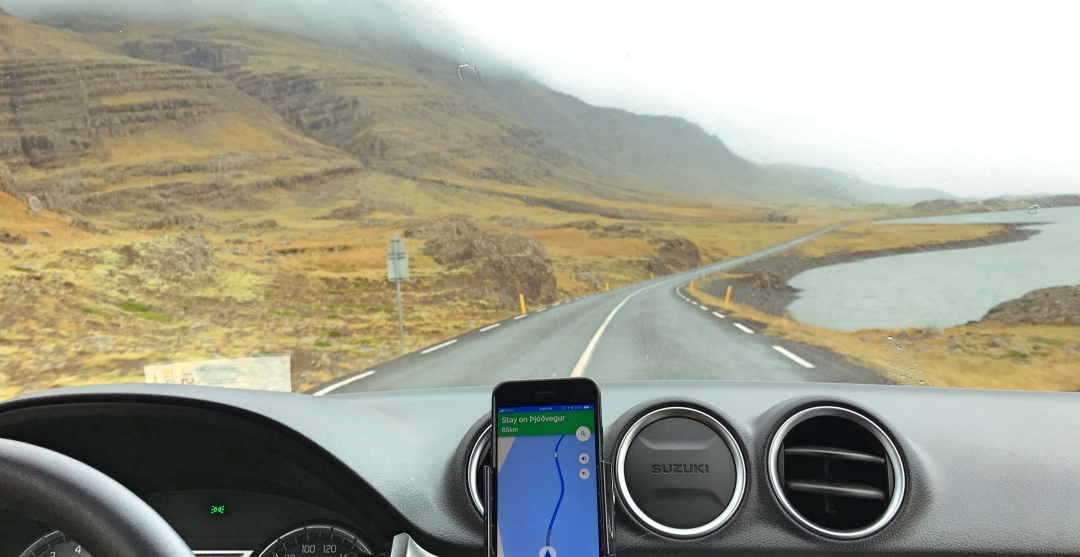 In Iceland shoulder season, you drive with your lights on all the time. Also: GPS maps are funny stuff.