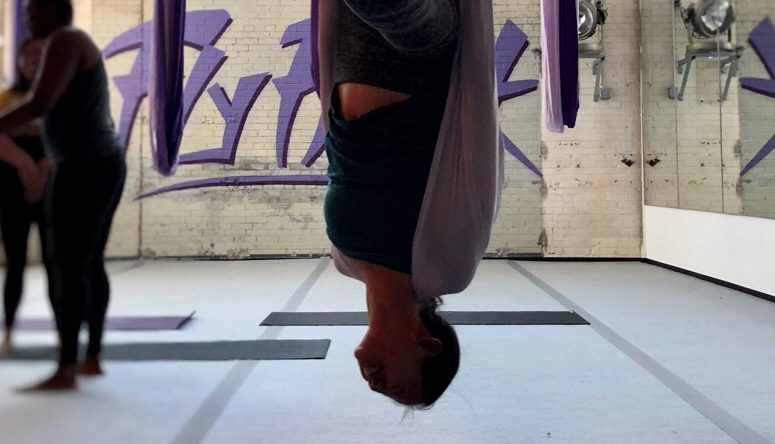 Hanging around at Fly Freak Yoga (Photo: Hayley Saccomano)